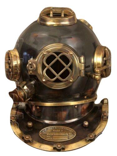 """Antique Scuba 18"""" Diving Helmet US Navy Mark V Vintage Divers Helmet GIFT ITEM"""