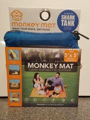 Monkey Mat Blue Shark Tank 5 X 5 Portable Outdoor Nylon Mat New 2017 Boxed