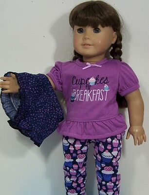 3pc CUPCAKE For Breakfast PJs Pajamas Doll Clothes For 18 American Girl (Debs - Cupcake Pajamas For Girls