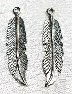 LARGE FEATHER FINE PEWTER PENDANT CHARM 11x47x2mm (Feather Pewter Pendant)