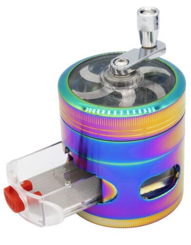 "2.4"" 4 PC Rainbow Tobacco Herb Spice Grinder W/ Handle Crank & Drawer Crusher"