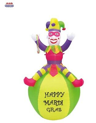 Mardi Gras Ball Decorations (7 Ft Mardi Gras Air Blown Inflatable Pink Jester On Ball Yard)