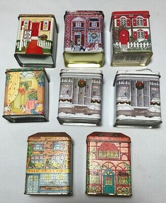 8 Vintage MiniHouse Shaped Nestle Toll House Tin England See's Lillian Vernon