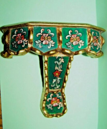Rare Antique Italian Gold Gilt Carved Wall Shelf w/Painted Glass Panels-Gorgeous