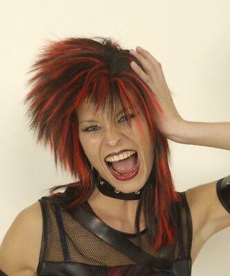 klasse Damen Perücke PUNK zB zu Kostüm Punkerin Rocker schwarz rot Vampir NEU