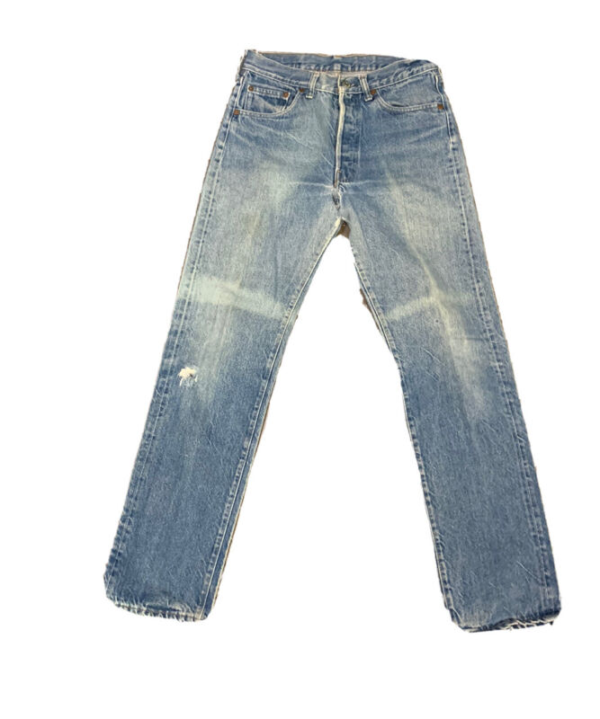 VTG Levis 501 Button Fly Distressed Jeans Size 29 X 32 Made USA