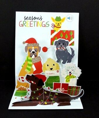 Christmas Pop Up Greeting Card Jingle Bell Dogs 3D with Sound Holiday Card  (Jingle Bell Sound)