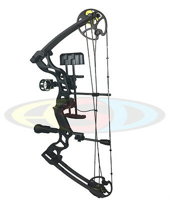 ASD 2017 Pro Series Black Adult Compound Bow Set 40-70lbs Arrows F/O Sight, Rest