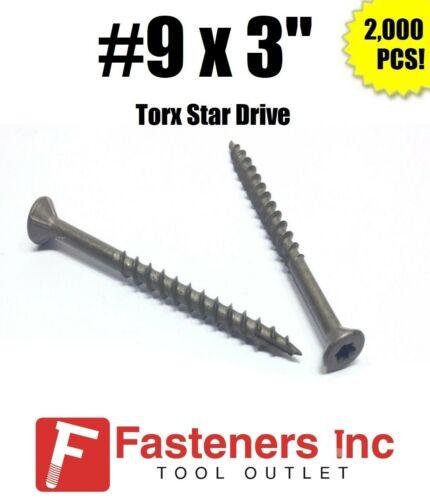"""INTERCORP XT930W #9 X 3"""" WAR Coat Drywall/Deck Screws Torx/Star Drive 2,000/BOX"""