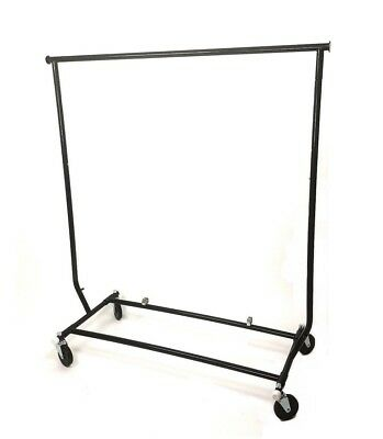Black Salesmans Clothing Garment Rack...fold-able With Wheels