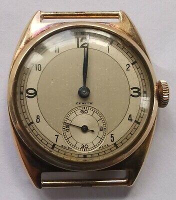 Vintage zenith 9ct gold gents man's wrist watch