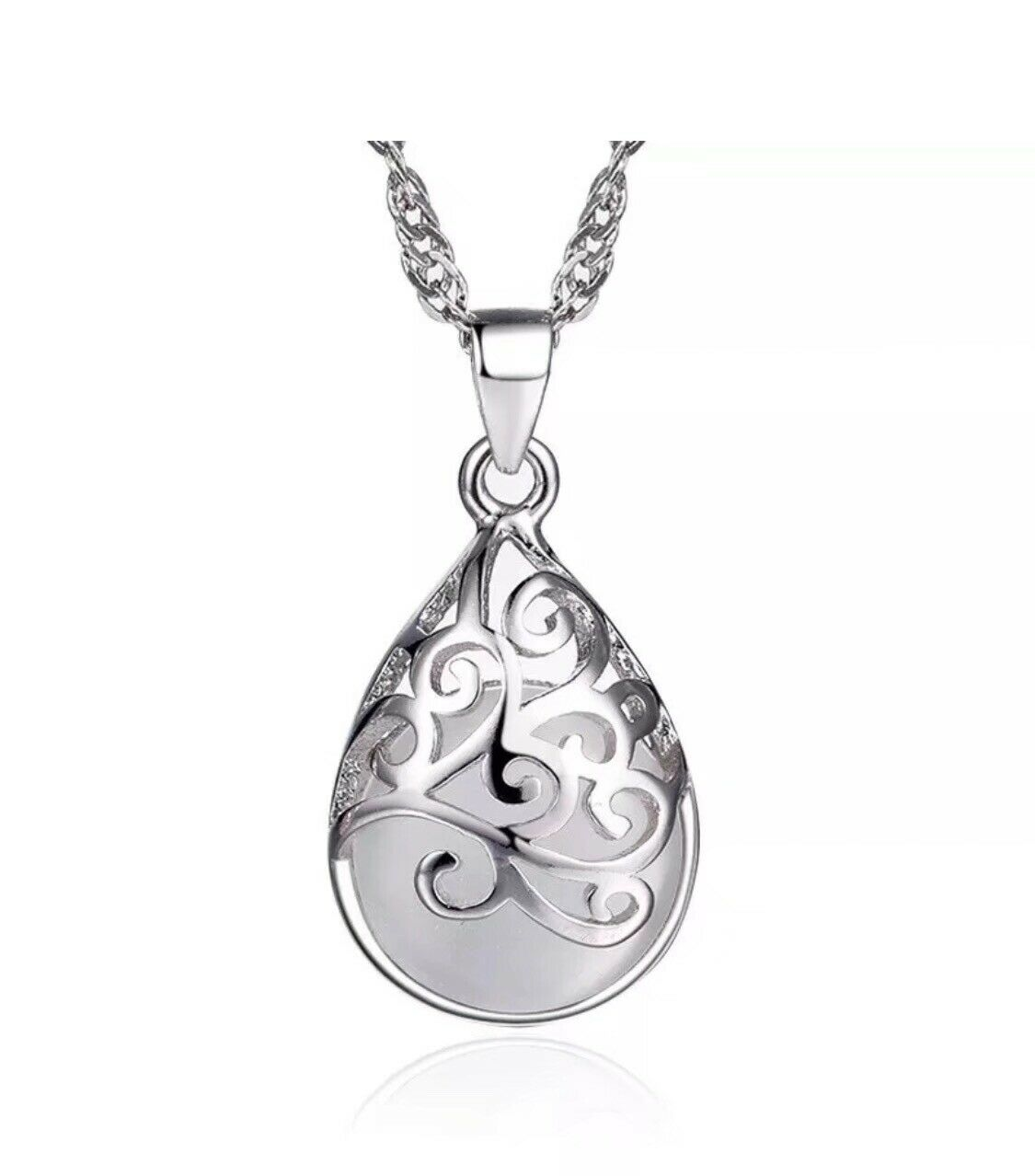 Jewellery - 925 Sterling Silver Moonstone Pendant Chain Necklace Women's Jewellery New Gift.