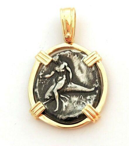 Greek Coin 14K Yellow Gold Pendant Boy on Dolphin Tara Calabria 14k Jewelry