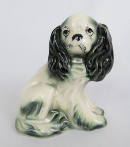 Vintage Hand Painted Pottery Japanese Chin Spaniel Sad Dog Figurine - Cute!