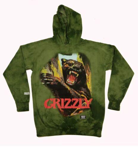 Grizzly Griptape Hunting Season Tie Dye Hoodie Sweater Green
