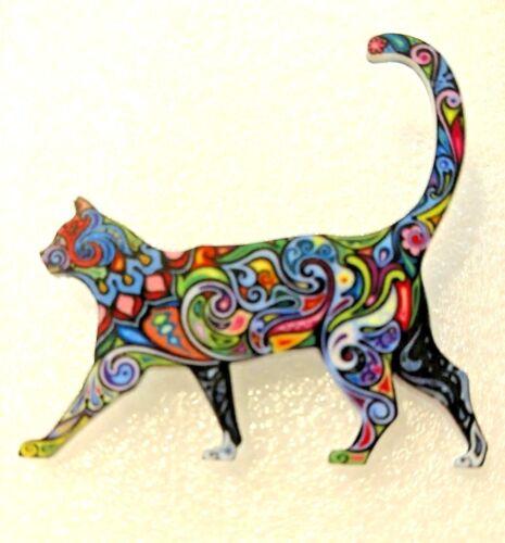 Cat Kitten Walking Blue Tones Multicolor Acrylic Pin Brooch Jewelry