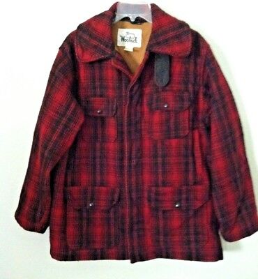 Woolrich Classic Wool Hunt Coat Jacket 503 Red Black Plaid Size 42 Vintage USA Hunt Coat