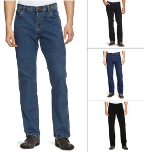 Wrangler-Texas-Stretch-Jeans-Regular-Fit-New-Men-s-Black-Blue-Darkstone-Denim