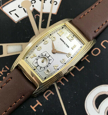 RARE Vintage 1937 Mans Hamilton LINWOOD Long Curved Case  Serviced W/ WARRANTY