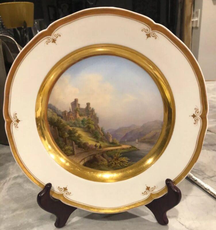 "Antique Porcelain KPM  Berlin Beautiful Cabinet Plate C.1860 ""Rheinstein""."