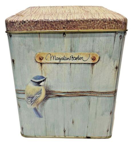 "Marjolein Bastin Birdhouse Tin Vintage 1995 Hallmark Bird Thatch Roof Lid Box 6"""