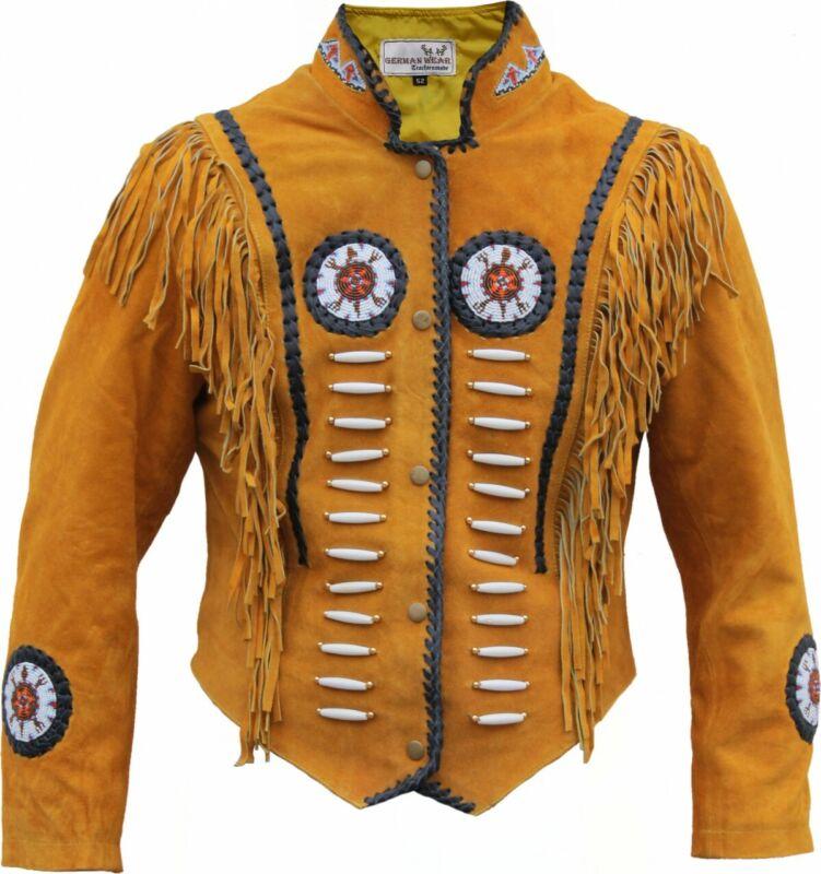 German Wear, Western-Lederjacke Indians Costume Vest Jacket Rider Jacket Ocker