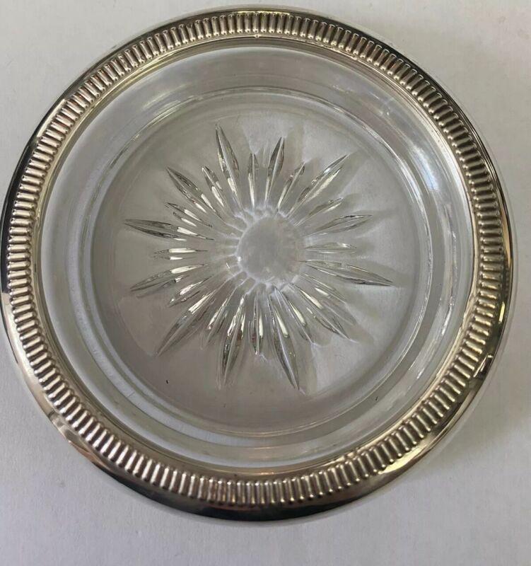 Cut Glass Sunburst Star Coaster Ashtrays w/ Crown Sterling Silver Rims