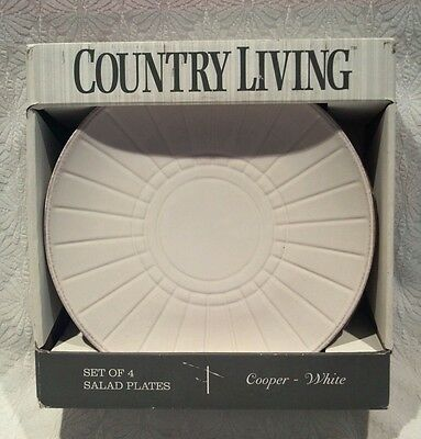 COUNTRY LIVING SALAD LUNCH PLATES SET OF 4 NIB COOPER WHITE