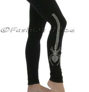 Ladies-Black-Tight-Fit-Spider-Diamante-Print