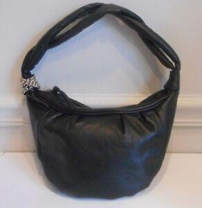 Tosca Blu Black Soft Genuine Leather Silver Tone Metal Hardware Hobo Sh Bag