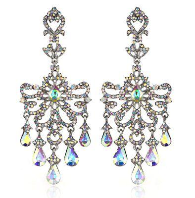 Huge Victorian Austrian Crystal Drop Chandelier Dangle Earrings E2097AB AB -