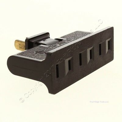 GE Brown Triplex Swivel Receptacle Outlet Adapter Non-Grounding 15A 125V Bulk 69 ()