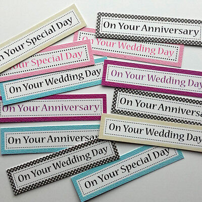 12 WEDDING/ANNIVERSARY THEMED Sentiments/Banners Hand Made Card Toppers (WDOB2)