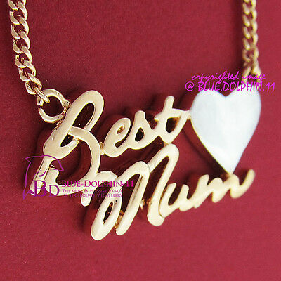 18k Yellow White Gold GF Necklace Pendant BEST MUM Suprise Mother's Day