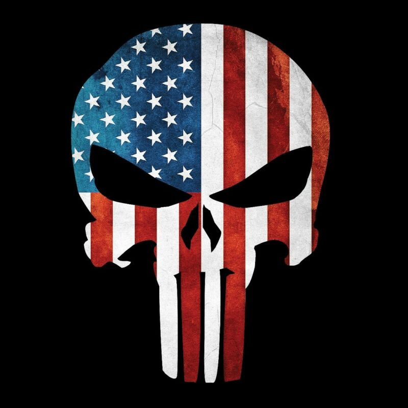 Punisher Skull American Flag Military Decal Sticker Graphic - 3 Sizes