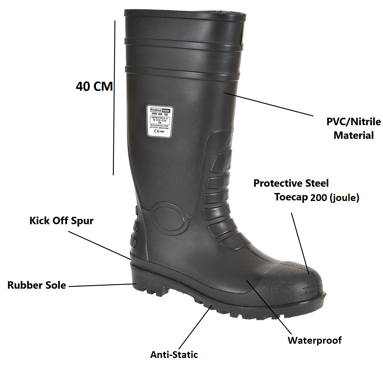 Portwest Safety Wellington Boots Shoes Wellies Steel Toe Cap Waterproof FW94