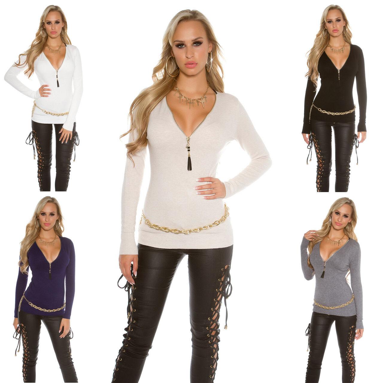 Damen Pullover Pulli Sweater Reißverschluss Strass warm weich Sweatshirt S 34 36