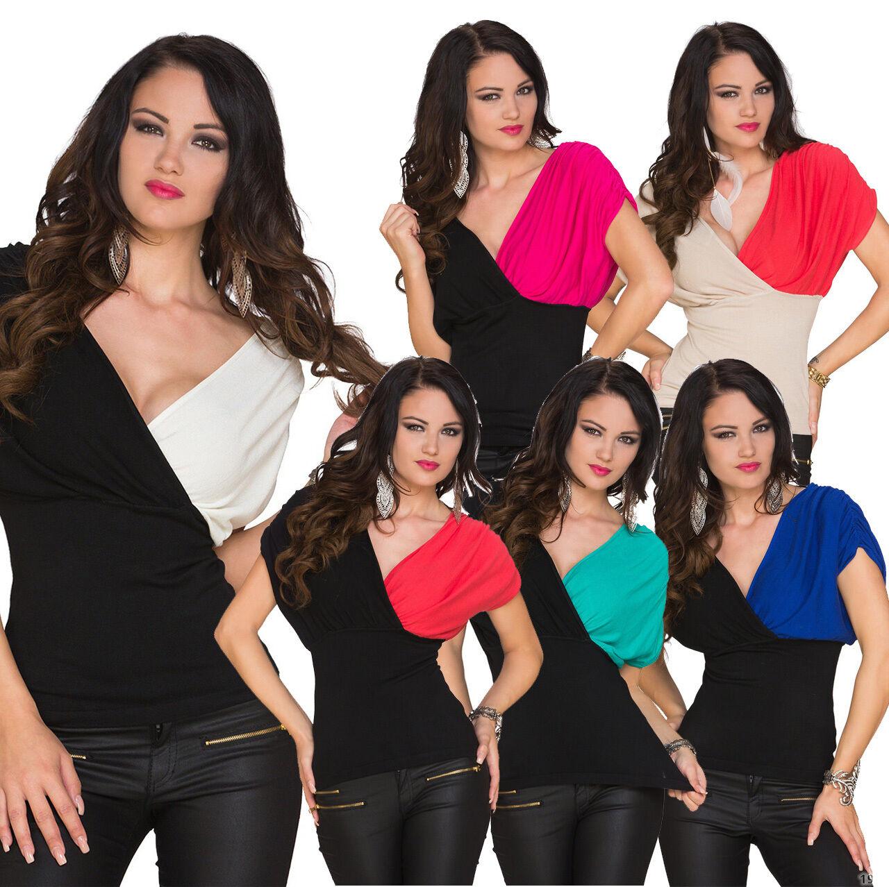 Sexy Damen Kurzarm Shirt T-Shirt Top Feinstrick Party Disko Mode elegant S 34 36