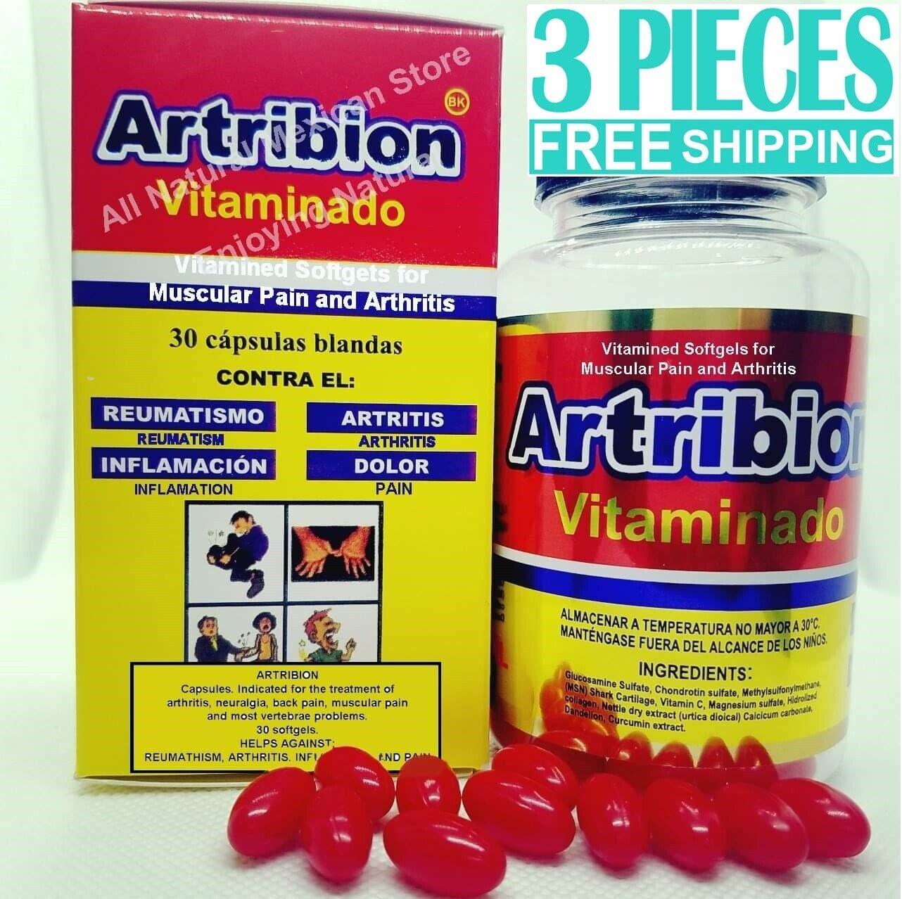 3 pieces ARTRIBION VITAMINADO Arthritis Joint Pain, Reumatism, 30 softgel caps