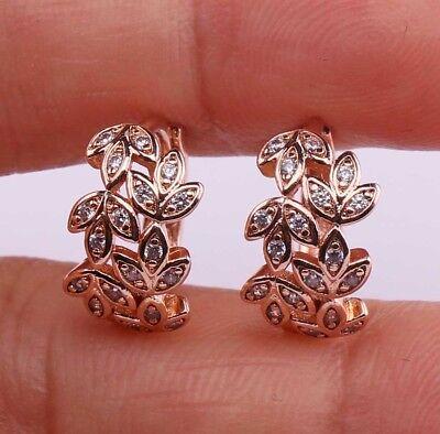 (18K Yellow Gold Filled - Flower Leaf Topaz Zircon Wedding Hoop Gemstone Earrings)