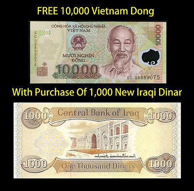 1000 IRAQI DINAR    And Recieve 10000 Vietnamese Dong Free  -  Lot Of 1 Ea.