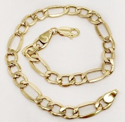 Mens Gold Figaro Bracelet - 14k Yellow Gold 5.2 MM Figaro Link Chain Bracelet 8