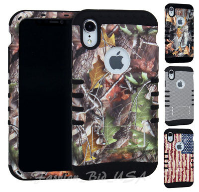 For Apple iPhone XS MAX - KoolKase Hybrid Silicone Cover Case - Camo Flag Series