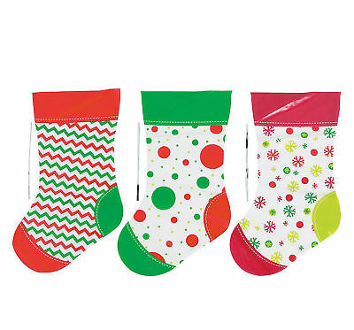 24 Christmas Stocking Gift Treat Bags Plastic with Twist Ties