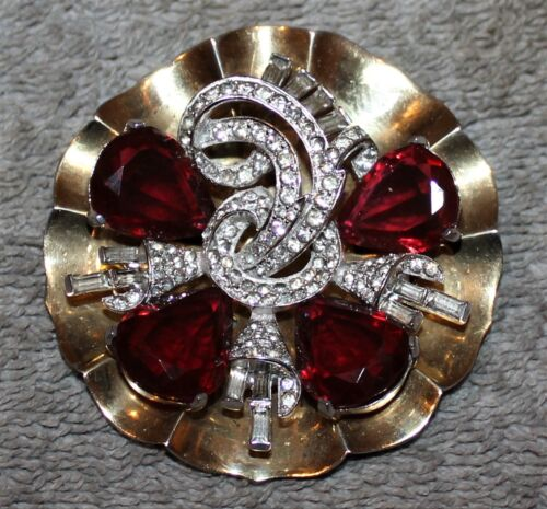 VINTAGE SIGNED MAZER LILY PAD PIN BROOCH RHINESTONE BAGUETTES W/RUBY CRYSTALS