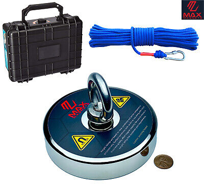 Neodymium Magnet Kit - LARGEST FISHING MAGNET KIT 1200 LBS PULL FORCE NEODYMIUM MAGNET + ROPE + CASE