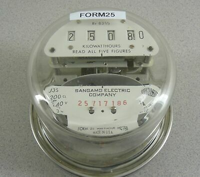 Sangamo Electric Watthour Meter Kwh J3s Form 25 200a 240v Cl200 4 Lug Glass Dome