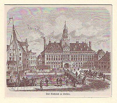 kleiner  Holzstich  Das Rathaus zu  Emden  ca. 1880 Otto Spamer