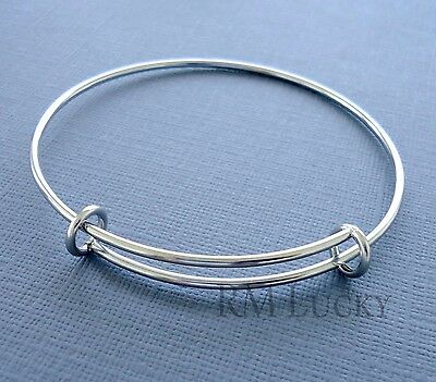 Expandable wire bangle charm bracelet Stainless Steel plain Adjustable  S-M  b13