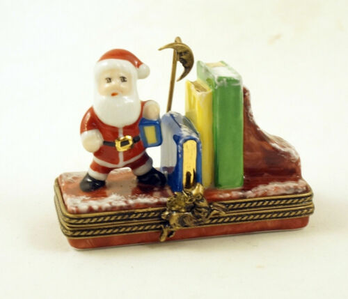 New French Limoges Trinket Box Shelf with Santa Claus & Christmas Story Books